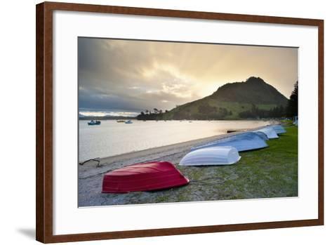 Boats at Mount Maunganui at Sunset, Tauranga, North Island, New Zealand, Pacific-Matthew Williams-Ellis-Framed Art Print