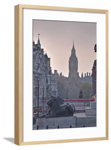 Trafalgar Square and Big Ben at Dawn, London, England, United Kingdom, Europe-Julian Elliott-Framed Art Print