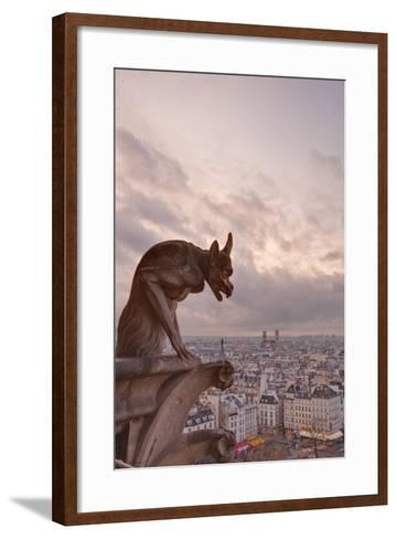 A Gargoyle on Notre Dame De Paris Cathedral Looks over the City, Paris, France, Europe-Julian Elliott-Framed Art Print