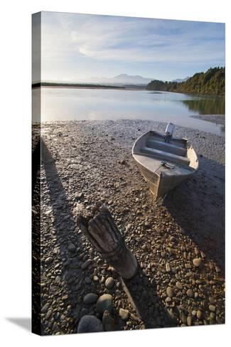 Motor Boat at Sunrise, Okarito Lagoon, West Coast, South Island, New Zealand, Pacific-Matthew Williams-Ellis-Stretched Canvas Print