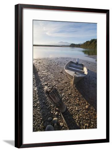Motor Boat at Sunrise, Okarito Lagoon, West Coast, South Island, New Zealand, Pacific-Matthew Williams-Ellis-Framed Art Print