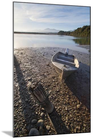 Motor Boat at Sunrise, Okarito Lagoon, West Coast, South Island, New Zealand, Pacific-Matthew Williams-Ellis-Mounted Photographic Print