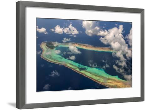 Aerial of the Very Beautiful Ant Atoll, Pohnpei, Micronesia, Pacific-Michael Runkel-Framed Art Print