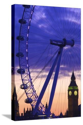 The London Eye and Big Ben, London, England, United Kingdom, Europe-Neil Farrin-Stretched Canvas Print