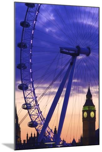 The London Eye and Big Ben, London, England, United Kingdom, Europe-Neil Farrin-Mounted Photographic Print