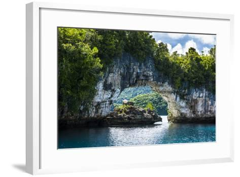 Rock Arch in the Rock Islands, Palau, Central Pacific, Pacific-Michael Runkel-Framed Art Print