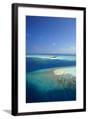 Aerial View of Tropical Island and Lagoon, Maldives, Indian Ocean, Asia-Sakis Papadopoulos-Framed Art Print