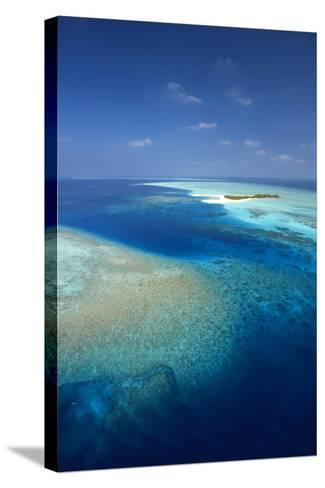 Aerial View of Tropical Island and Lagoon, Maldives, Indian Ocean, Asia-Sakis Papadopoulos-Stretched Canvas Print