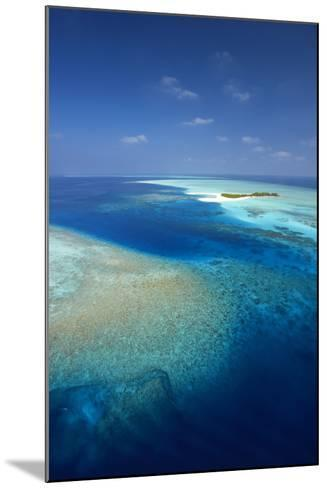 Aerial View of Tropical Island and Lagoon, Maldives, Indian Ocean, Asia-Sakis Papadopoulos-Mounted Photographic Print