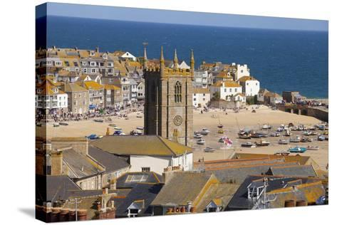 View over St. Ives, Cornwall, England, United Kingdom, Europe-Miles Ertman-Stretched Canvas Print
