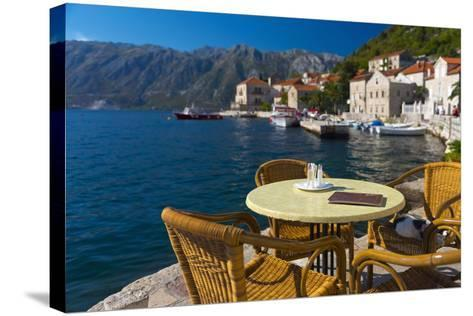 Montenegro, Bay of Kotor, Perast, Waterside Cafe-Alan Copson-Stretched Canvas Print