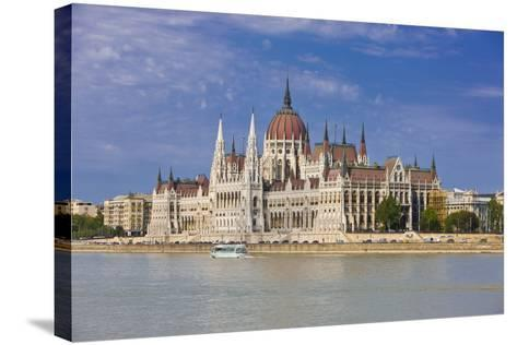 Parliament on the Banks of the River Danube, Budapest, Hungary, Europe-Michael Runkel-Stretched Canvas Print