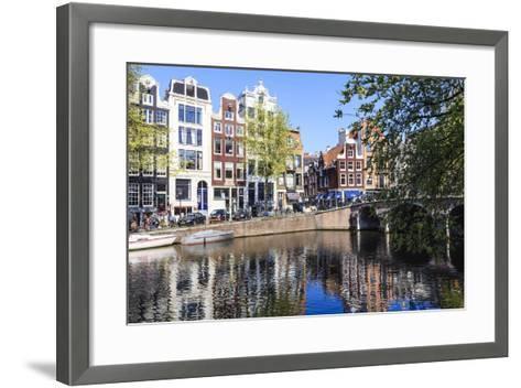 Singel Canal, Amsterdam, Netherlands, Europe-Amanda Hall-Framed Art Print