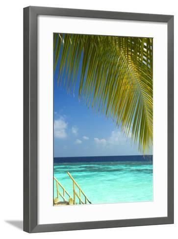 Wooden Stairs Out to Tropical Sea, Maldives, Indian Ocean, Asia-Sakis Papadopoulos-Framed Art Print