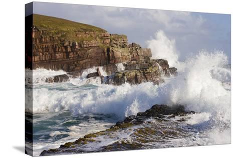 Waves Crashing over Rocks, Coastline Near Point of Stoer, Assynt, Sutherland, Nw Scotland, UK-Mark Hamblin-Stretched Canvas Print