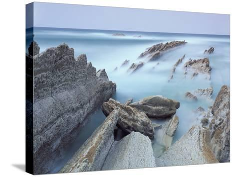 Rock Formations on Atxabiribil Beach, Basque Country, Bay of Biscay, Spain, October 2008-Popp-Hackner-Stretched Canvas Print