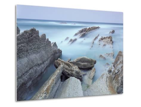 Rock Formations on Atxabiribil Beach, Basque Country, Bay of Biscay, Spain, October 2008-Popp-Hackner-Metal Print