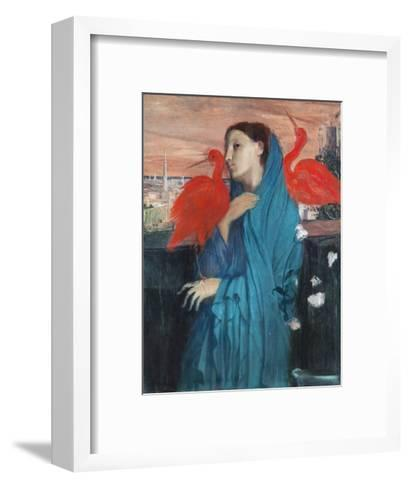 Young Woman with Ibis-Edgar Degas-Framed Art Print