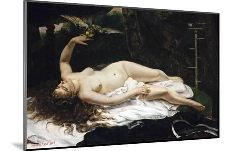 Woman with a Parrot-Gustave Courbet-Mounted Giclee Print