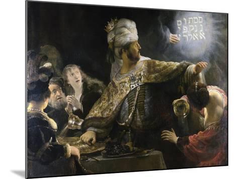 Belshazzar's Feast-Rembrandt van Rijn-Mounted Giclee Print