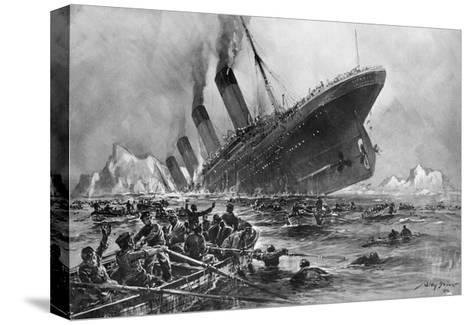 Sinking of the Titanic-Willy Stoewer-Stretched Canvas Print