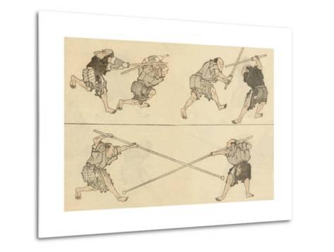 Martial Artists Fighting-Katsushika Hokusai-Metal Print