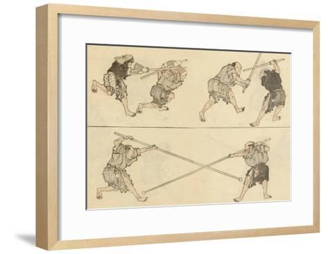 Martial Artists Fighting-Katsushika Hokusai-Framed Art Print