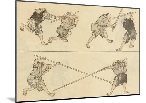 Martial Artists Fighting-Katsushika Hokusai-Mounted Giclee Print
