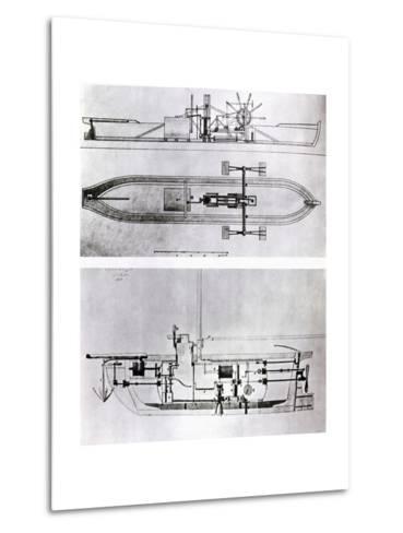 Steamboat and Submarine Plans-Robert Fulton-Metal Print