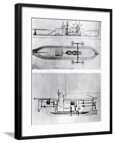 Steamboat and Submarine Plans-Robert Fulton-Framed Art Print