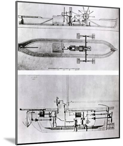 Steamboat and Submarine Plans-Robert Fulton-Mounted Giclee Print