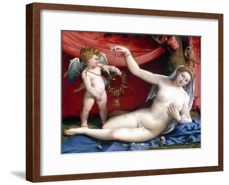 Venus and Cupid-Lorenzo Lotto-Framed Art Print