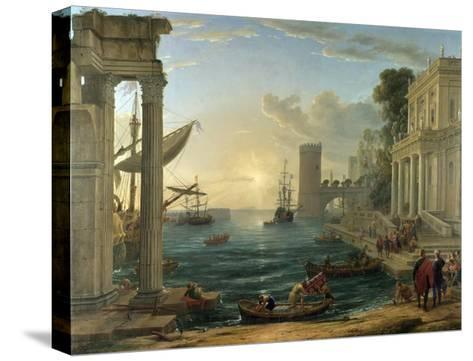 Seaport with the Embarkation of the Queen of Sheba-Claude Lorraine-Stretched Canvas Print