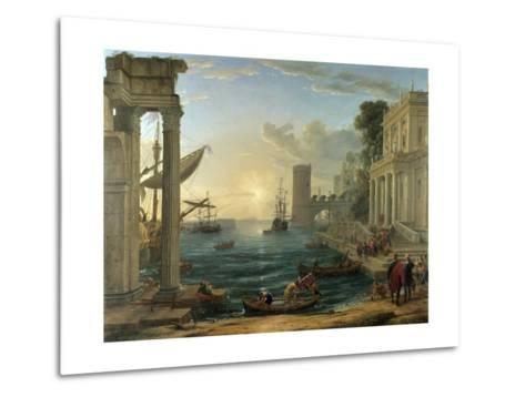 Seaport with the Embarkation of the Queen of Sheba-Claude Lorraine-Metal Print