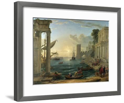 Seaport with the Embarkation of the Queen of Sheba-Claude Lorraine-Framed Art Print
