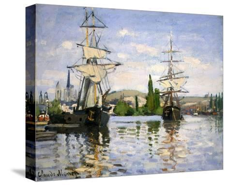 Ships Riding on the Seine at Rouen-Claude Monet-Stretched Canvas Print