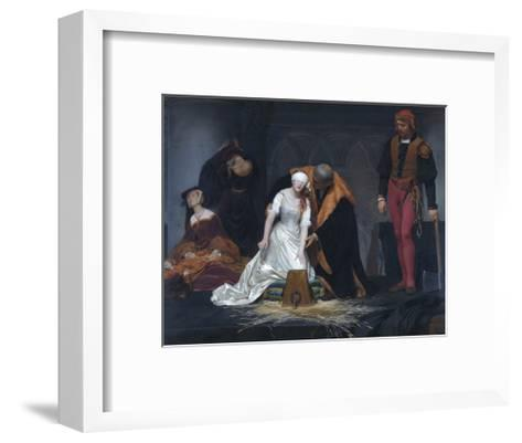 The Execution of Lady Jane Grey in the Tower of London in the Year 1554-Paul Delaroche-Framed Art Print