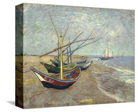 Fishing Boats on the Beach at Les Saintes-Maries-De-La-Mer-Vincent van Gogh-Stretched Canvas Print