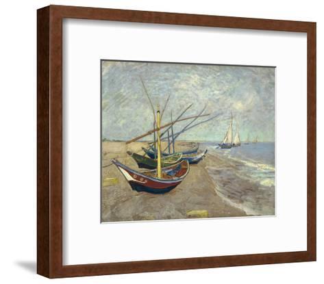 Fishing Boats on the Beach at Les Saintes-Maries-De-La-Mer-Vincent van Gogh-Framed Art Print