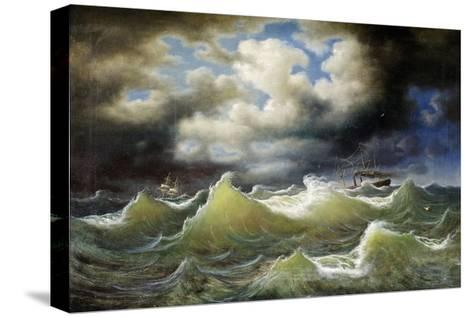 Steamboat on Stormy Water-Johan Knutson-Stretched Canvas Print