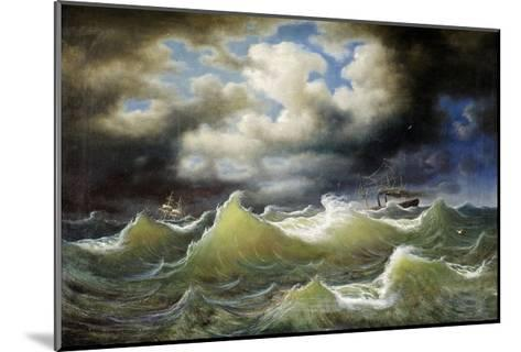 Steamboat on Stormy Water-Johan Knutson-Mounted Giclee Print
