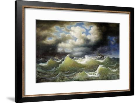 Steamboat on Stormy Water-Johan Knutson-Framed Art Print