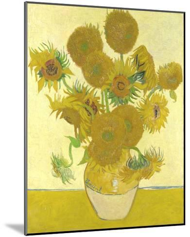 Vase with Fifteen Sunflowers-Vincent van Gogh-Mounted Giclee Print