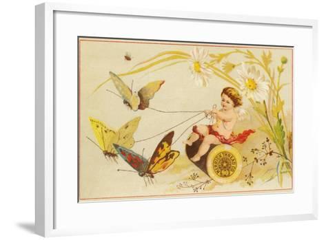 Butterflies Pulling Cherub on Thread Spool Chariot--Framed Art Print