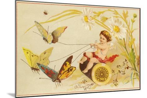 Butterflies Pulling Cherub on Thread Spool Chariot--Mounted Giclee Print
