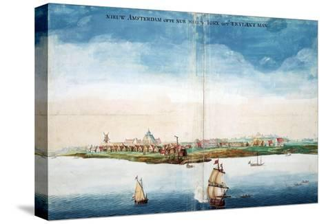 Gezicht Op Nieuw Amsterdam (A View of New Amsterdam, Aka New York City or Manhattan)-Johannes Vingboon-Stretched Canvas Print