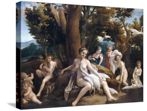 Leda and the Swan-Correggio-Stretched Canvas Print