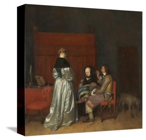 Three Figures Conversing in an Interior, known as 'The Paternal Admonition,'-Gerard ter Borch-Stretched Canvas Print