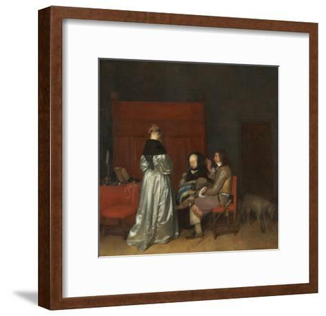 Three Figures Conversing in an Interior, known as 'The Paternal Admonition,'-Gerard ter Borch-Framed Art Print