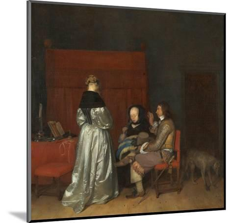 Three Figures Conversing in an Interior, known as 'The Paternal Admonition,'-Gerard ter Borch-Mounted Giclee Print